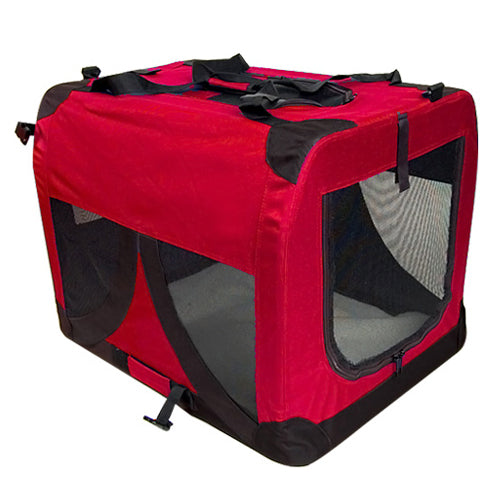 Large Foldable Portable Soft Crate Pet Carrier - Red