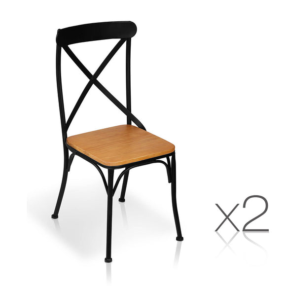 Set of 2 Metal Dining Chair - Black
