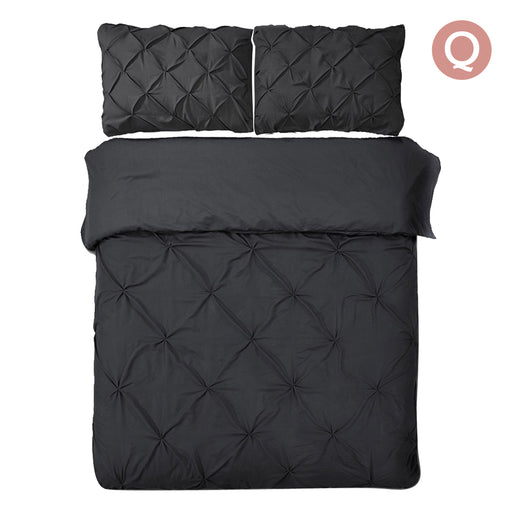 Queen Size 3-piece Quilt Cover Set Bedding - Black