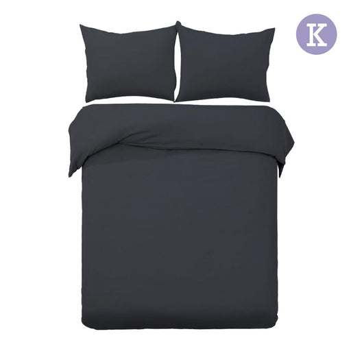King Size Classic 3-piece Quilt Cover Set Bedding - Black