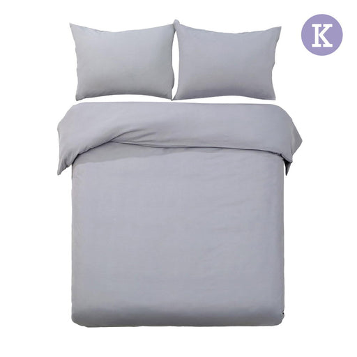 King Size Classic 3-piece Quilt Cover Set Bedding- Grey