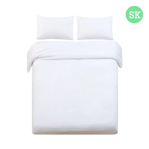 Super King Size Classic Quilt Cover Set - White