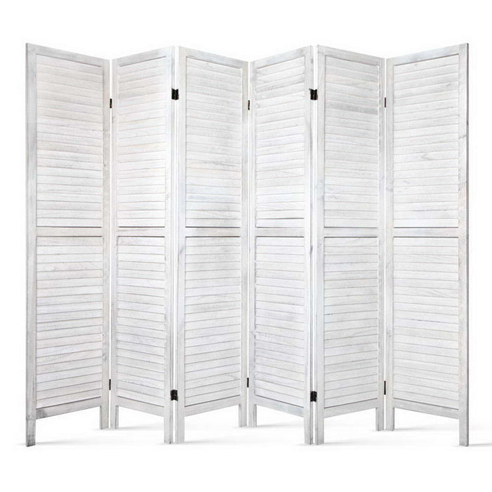 6 Panel Foldable Wooden Room Divider Eco-Friendly Non-Toxic - White