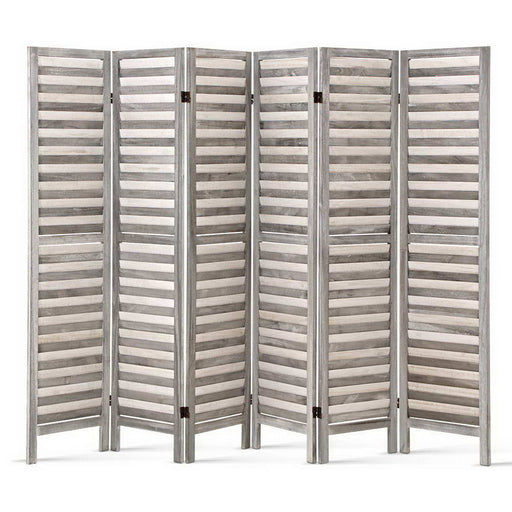 6 Panel Foldable Wooden Room Divider Eco-Friendly Non-Toxic - Grey