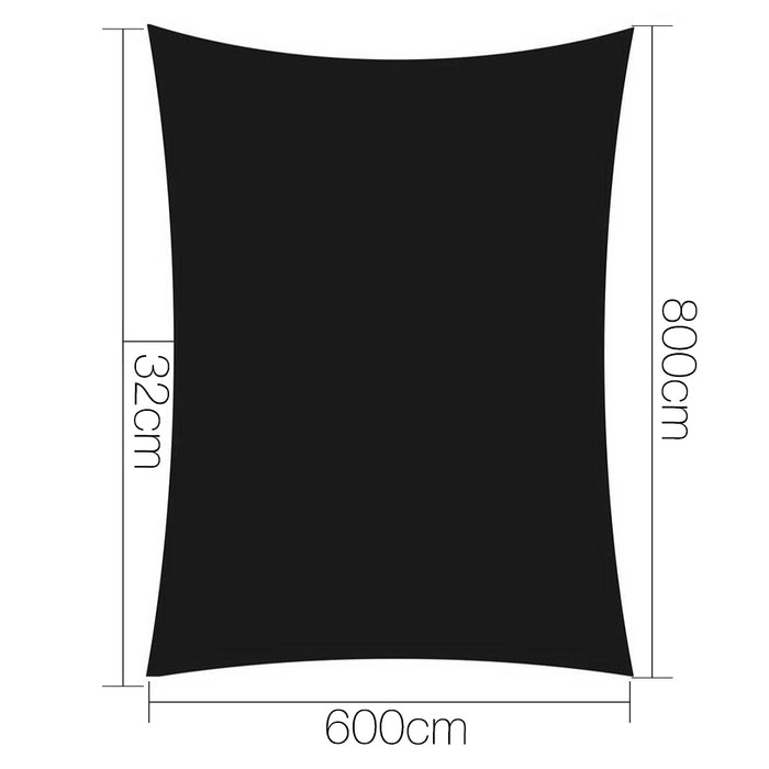 6 x 8m Rectangle Shade Sail Cloth - Black