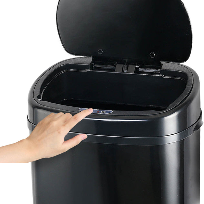 68L Stainless steel Motion Sensor Rubbish Bin Waste Trash Kitchen Office Black