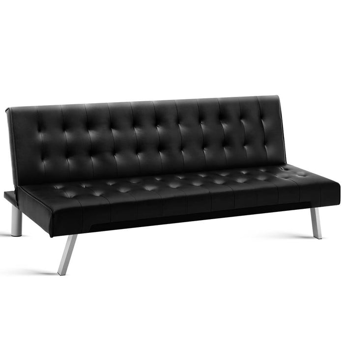 3-Seater Leather Sofa Bed - Black
