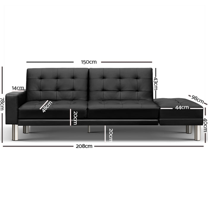 3-seater PU Leather Sofa Bed - Black