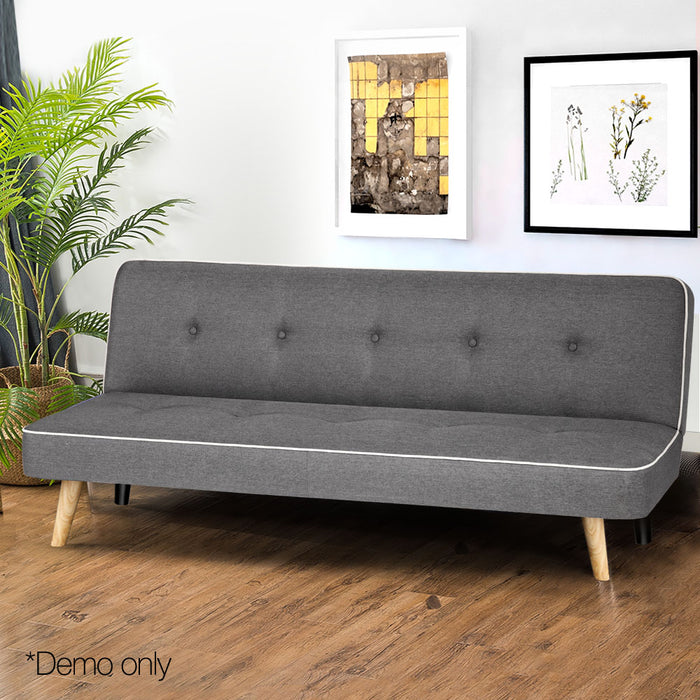 3 Seater Fabric Sofa Bed - Grey