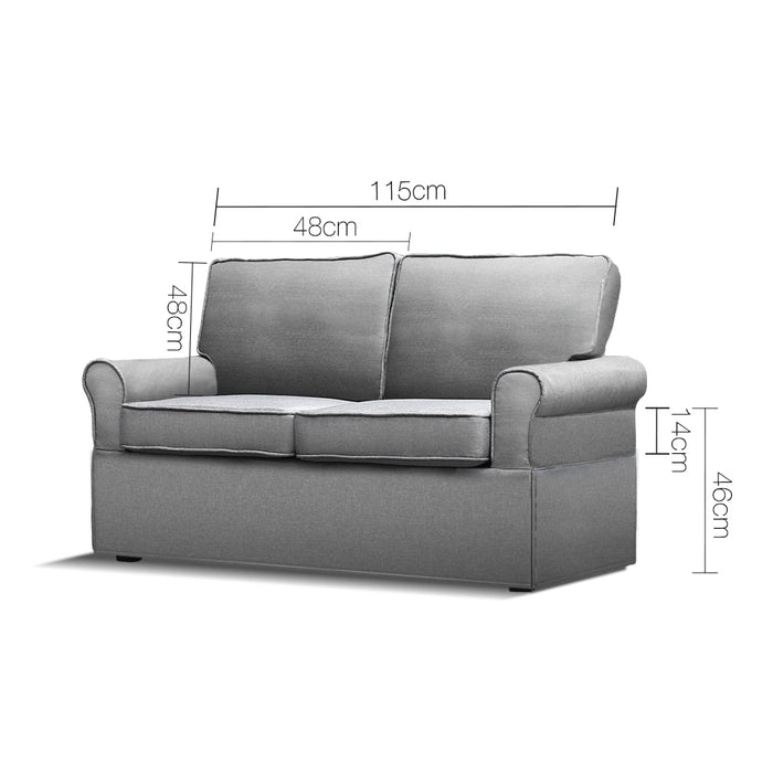 2 Seater Folding Fabric Bed Converts to Sofa Lounge Chair Foldable- Grey