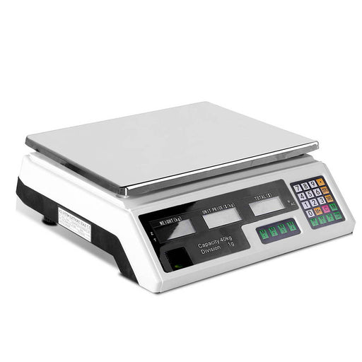 Kitchen Scale Digital PostalElectronic Weight Scales Food Shop 40kg/1g-White