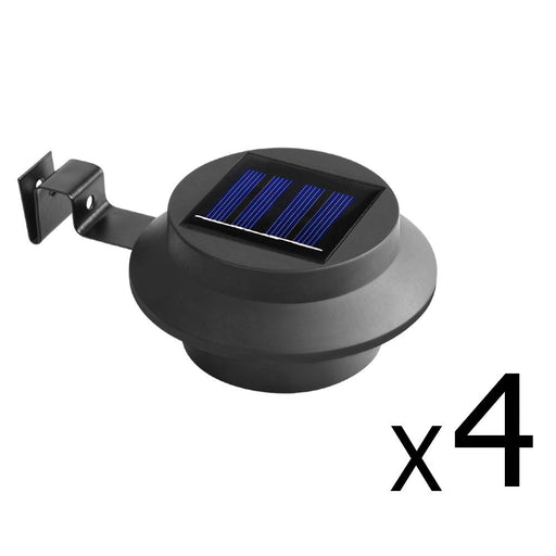 Set of 4 New White Solar Powered Motion Sensor Security Light  -Blakc