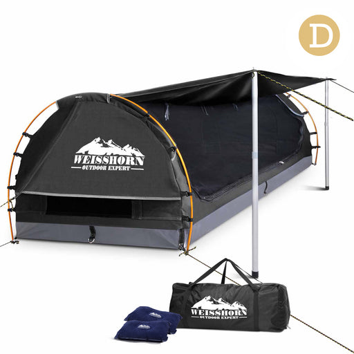 Double Size Camping Dome Tent Canvas Swag Hiking Beach - Dark Grey