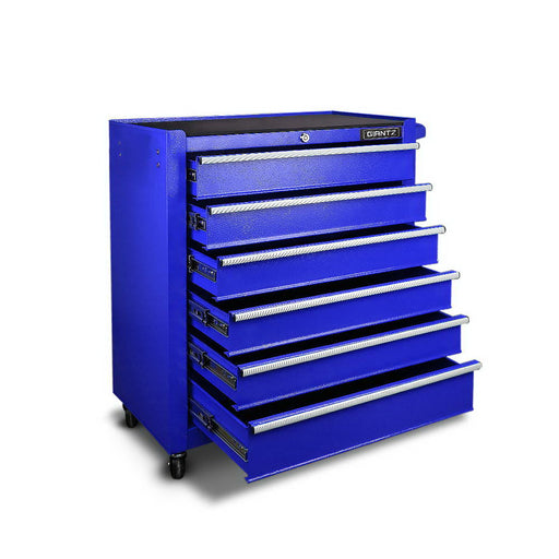 6 Drawers Toolbox Storage Cabinet Trolley - Blue