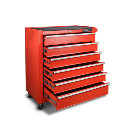 6 Drawer Mechanic Tool Box Cabinet Trolley Garage Toolbox Storage - Red