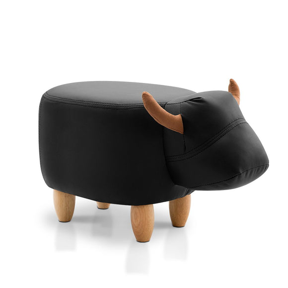 Kids Cow Animal Stool - Black