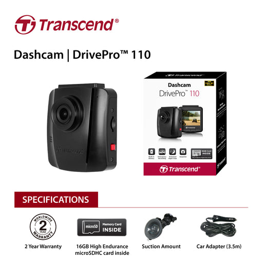 "Transcend 16G DrivePro 110, 2.4"" LCD, with Suction Mount"