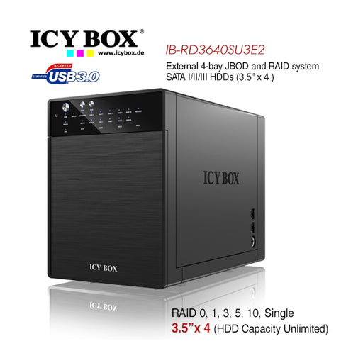 ICY BOX IB-RD3640SU3E2 External 4-Bay JBOD System for 3.5 Inch SATA HDDs