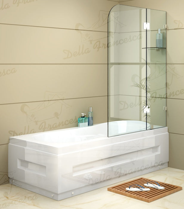 1200 x 1450mm Frameless Bath Panel 10mm Glass Shower Screen By Della Francesca