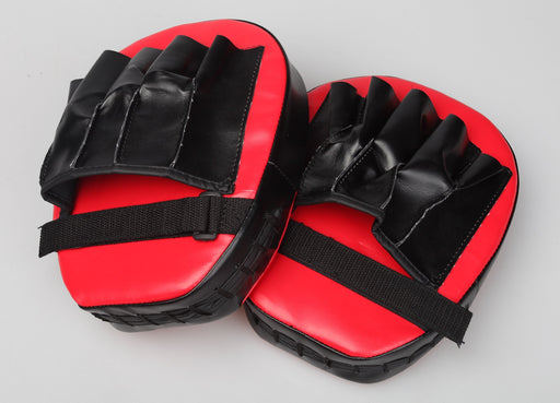 2x Thai Boxing Mitts Punch Focus Gloves Kit Training PVC Red & Black