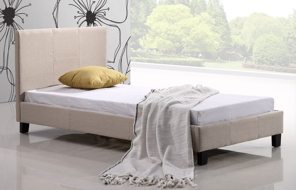 Single Linen Fabric Bed Frame Beige