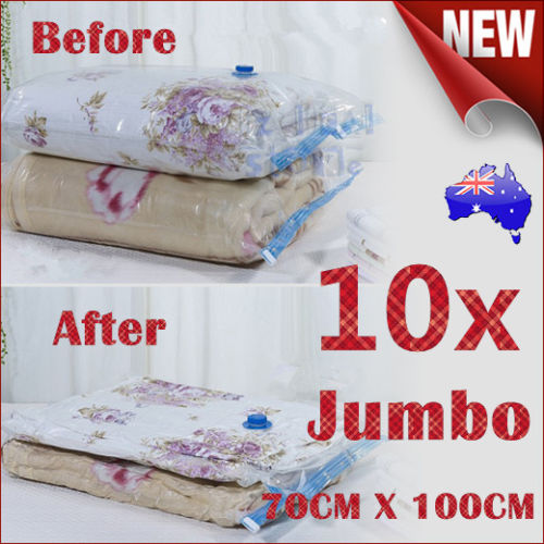 10X JUMBO Vacuum Storage Bags Saver Seal Compressing Space Saving