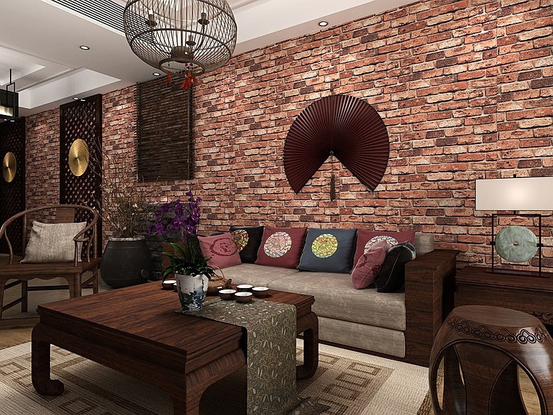 10m 3D Red Brick Stone Rock Print Theme Wallpaper