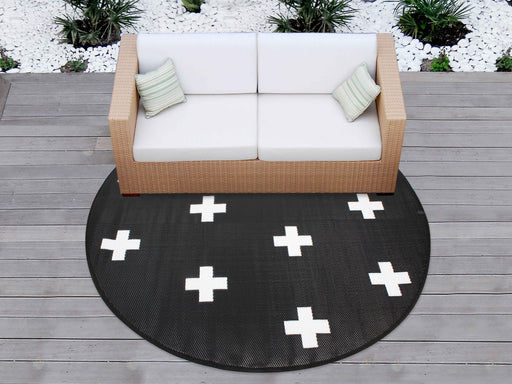 Outdoor Pp Mat Weatherproof Crosses Round Dia. 200cm