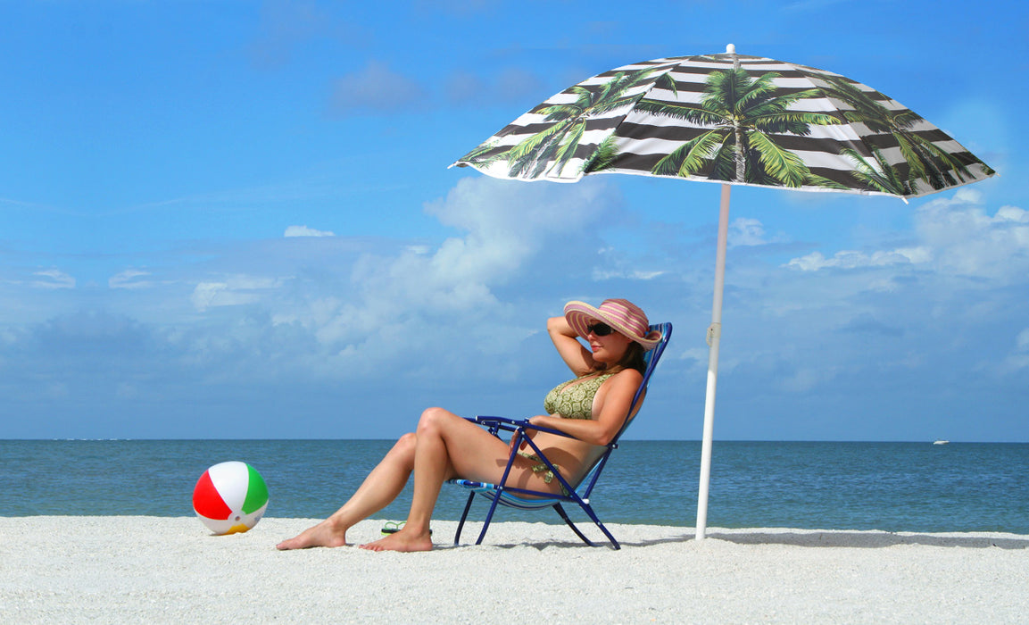 Beach Umbrella 180cm Striped Palm Design