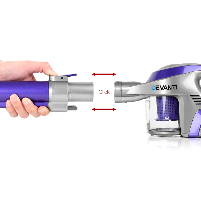 150W Rechargeable Cordless Handheld Vacuum Cleaner Stick - Purple & Grey