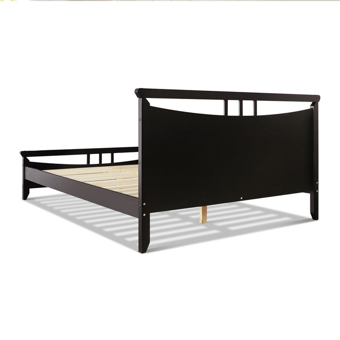 Artiss Double Size Wooden Bed Frame - Dark Cherry