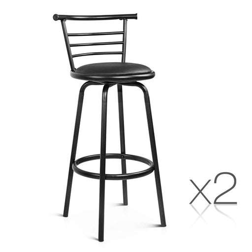 Set of 2  PU Leather Swivel Bar stool Kitchen Dining Chair Gas Lift Adjustable-Black