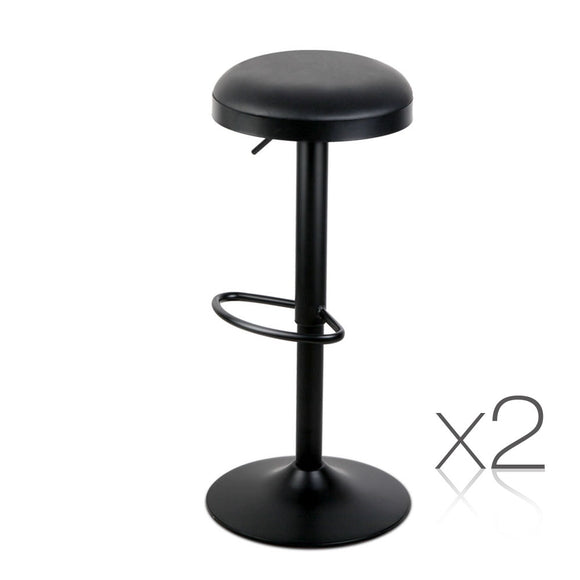 Set of 2 PU Leather Round Bar Stool - Black