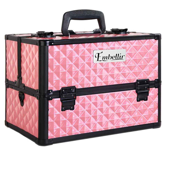 Portable Cosmetics Beauty Cases Bags Makeup-Box-Organ Mirror- Diamond Pink