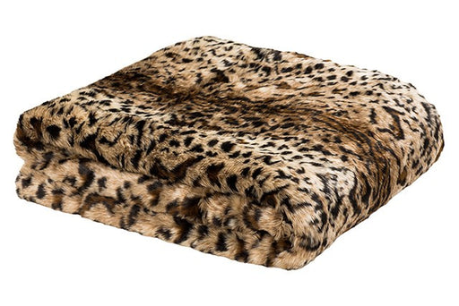 Faux Leopard Fur Throw by Bambury