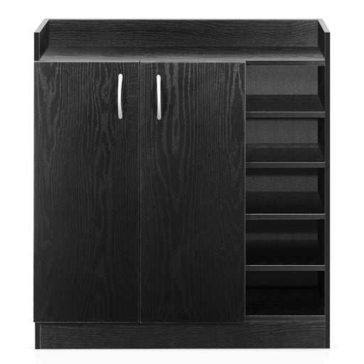 Black 2 Door Kitchen Display Laundry Shoe Storage Cabinet Cupboard Rack