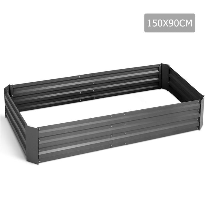 150 x 90cm Steel Raised Garden Bed Instant Planter Square Rectangular- Aliminium Grey