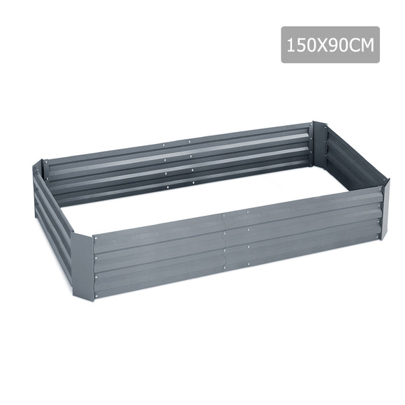 150 x 90cmc Galvanised Steel Raised Garden Bed Instant Planter Square Rectangular- Alumium Grey