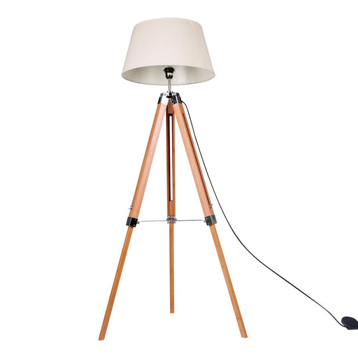 Modern  Floor Lamp Bamboo Tripod Linen Shade Wooden Light-Bamboo Brown & Beige