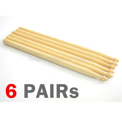 6 Pairs Wooden Drum Sticks 5A Maple Wood Tip Sets Drummer Music Instrument - NEW