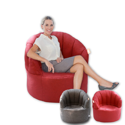 Shell Bean Bag Sofa Beanbag Cover Reading Relaxing Chair Seat Lounge Bed - Red