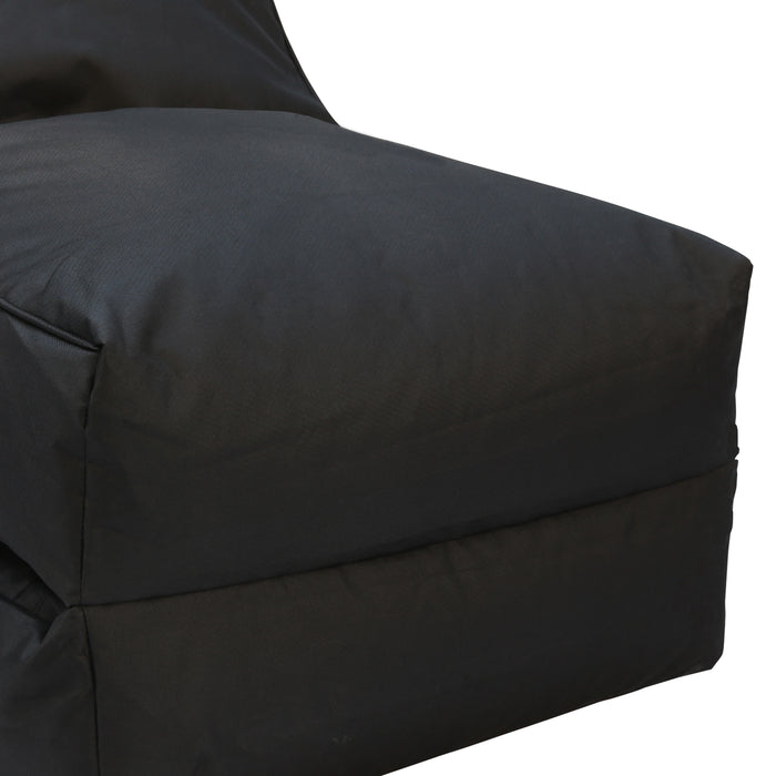 2 in 1 Bean Bag Sofa Lounge Cover Indoor Outdoor Water Resistant Chair Bed Black