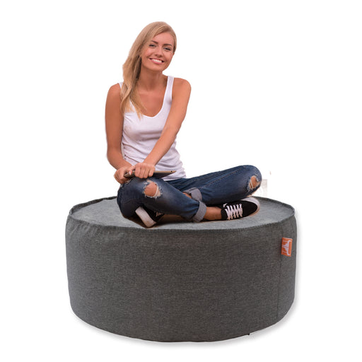 Round Bean Bag Lounge Cover Indoor Outdoor Home Sofa Chair Seat Decor Couch Grey