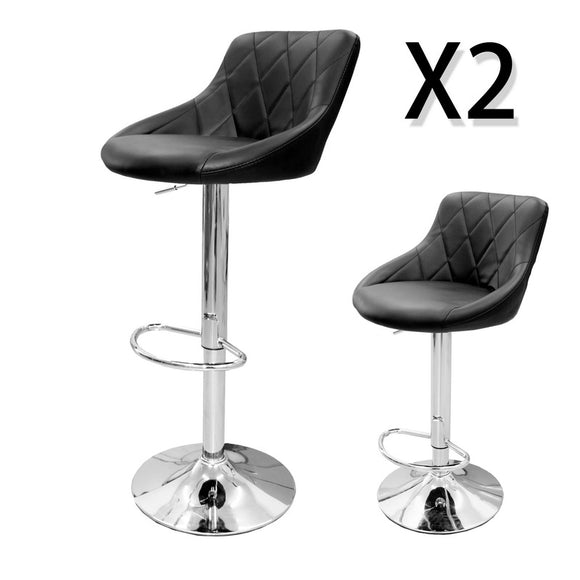 Set of 2 PU PVC Leather Swivel Bar Stools Gas Lift Black Kitchen Dining Chair
