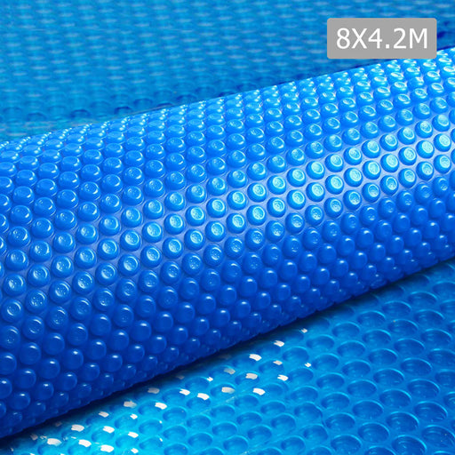 Solar Swimming Pool Cover 8 X 4.2M Outdoor Bubble Blanket -Blue