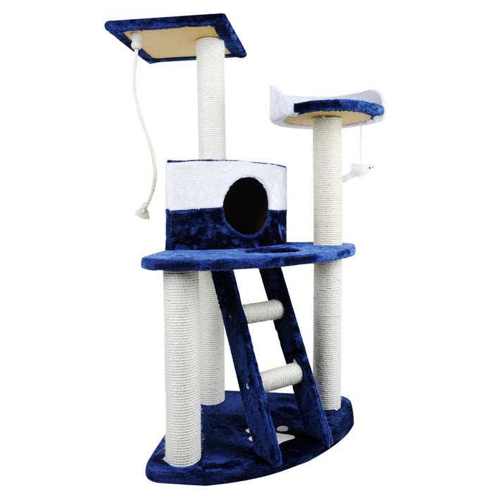 120cm Cat Scratching Tree - Blue & White