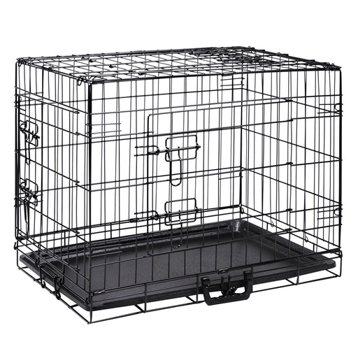 24inch Pet Dog Pet Cage Kennel Cat Collapsible Metal Crate - Black