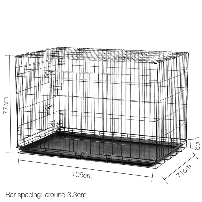 42inch Portable Folding Collapsible Pet Cage with Cover - Black & Blue