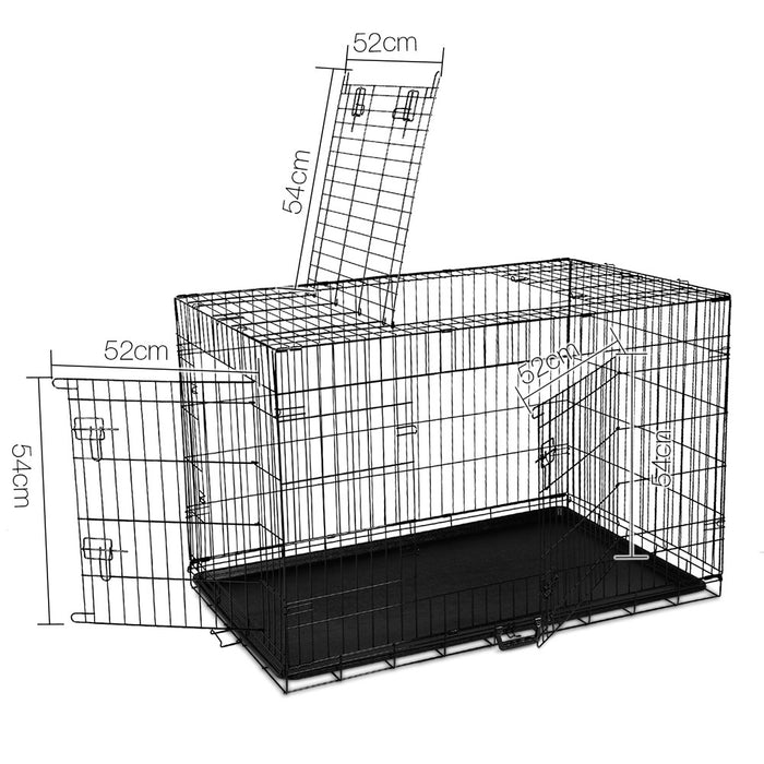 48inch Portable Folding Pet Cage with Cover - Black & Blue
