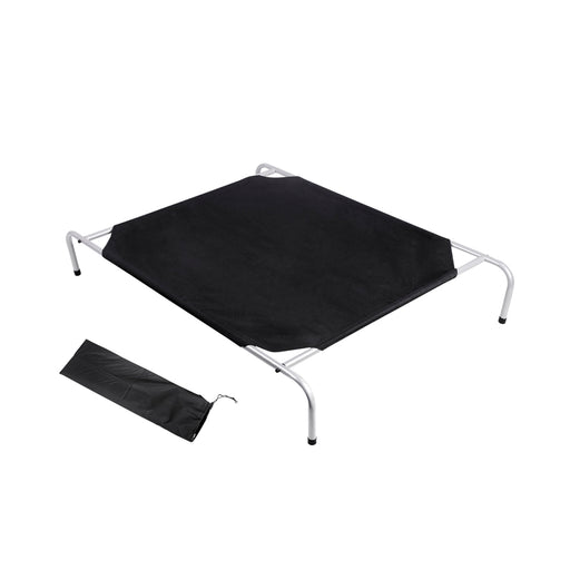Dog Bed Trampoline Pet Bed Large Canvash Combo Mat Cushion Flea -Black